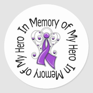 In Memory Hero Alzheimer's Disease Angel Wings Round Stickers