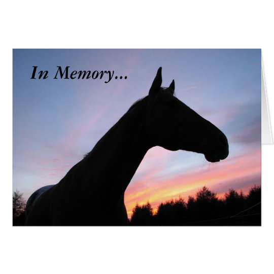 In Memory Loss of a Horse, With Sympathy