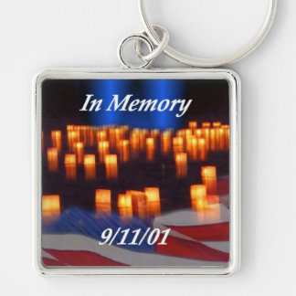 In Memory of 9/11! Silver-Colored Square Key Ring