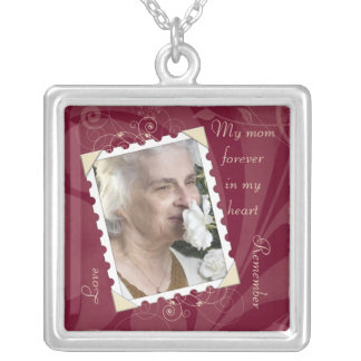 In Memory of Burgundy Ivory Photo Necklace