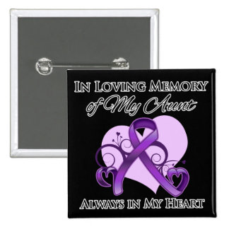 In Memory of My Aunt - Pancreatic Cancer Pinback Buttons