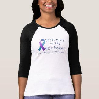 In Memory of My Best Friend Purple & Teal Ribbon T-Shirt