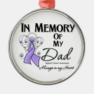 In Memory of My Dad Cancer Awareness Silver-Colored Round Decoration