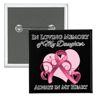 In Memory of My Daughter - Breast Cancer Pinback Button