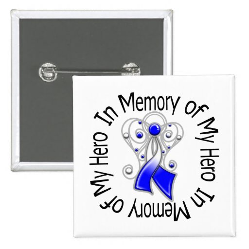 In Memory of My Hero ALS Angel Wings Pinback Buttons