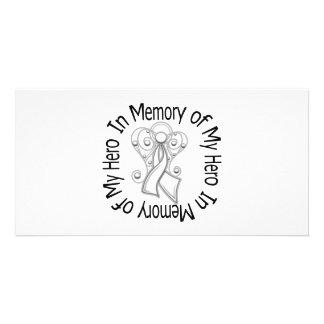 In Memory of My Hero Bone Cancer Angel Wings Photo Greeting Card