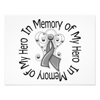 In Memory of My Hero Brain Cancer Angel Wings Invitations