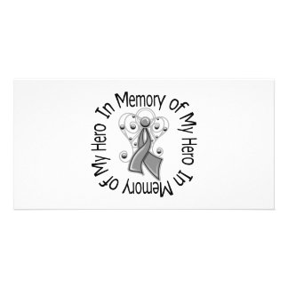 In Memory of My Hero Brain Cancer Angel Wings Customized Photo Card