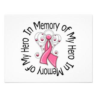 In Memory of My Hero Breast Cancer Angel Wings Custom Invitation