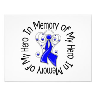 In Memory of My Hero Colon Cancer Angel Wings Custom Invites