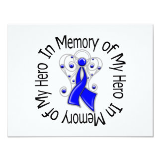In Memory of My Hero Colon Cancer Angel Wings 11 Cm X 14 Cm Invitation Card