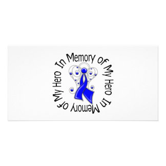 In Memory of My Hero Colon Cancer Angel Wings Personalized Photo Card