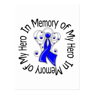 In Memory of My Hero Colon Cancer Angel Wings Postcard