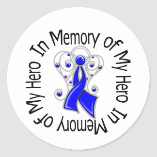 In Memory of My Hero Colon Cancer Angel Wings Round Sticker
