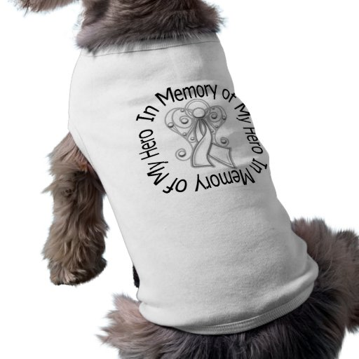 In Memory of My Hero Lung Cancer Angel Wings Dog T Shirt