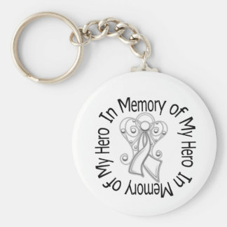 In Memory of My Hero Lung Cancer Angel Wings Key Chains