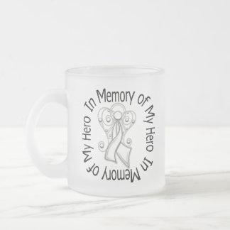 In Memory of My Hero Lung Cancer Angel Wings Mugs