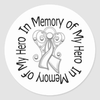 In Memory of My Hero Lung Cancer Angel Wings Round Stickers