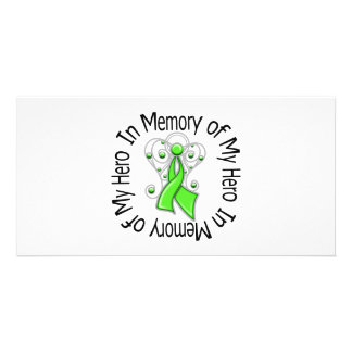 In Memory of My Hero Lymphoma Angel Wings Personalized Photo Card
