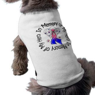 In Memory of My Hero Male Breast Cancer Angel Wing Dog T Shirt