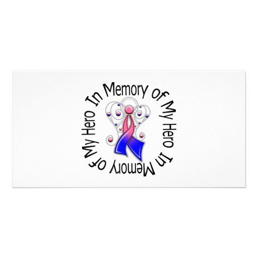 In Memory of My Hero Male Breast Cancer Angel Wing Picture Card
