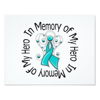 In Memory of My Hero Ovarian Cancer Angel Wings 4.25x5.5 Paper Invitation Card