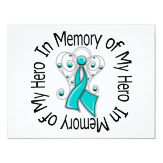"""In Memory of My Hero Ovarian Cancer Angel Wings 4.25"""" X 5.5"""" Invitation Card"""