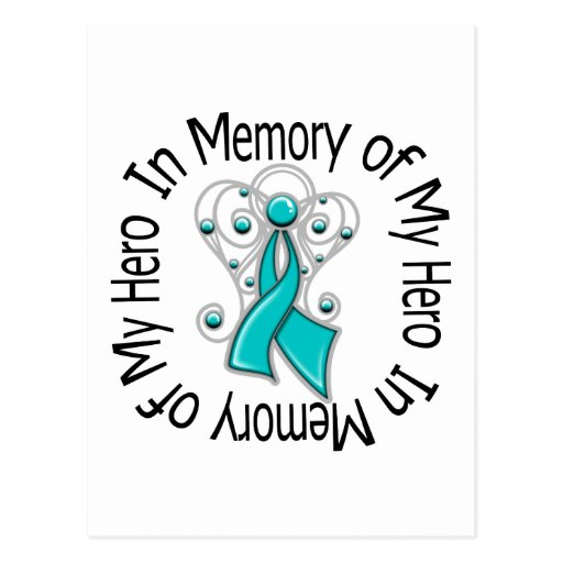 In Memory of My Hero Ovarian Cancer Angel Wings Post Card