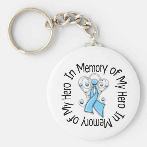 In Memory of My Hero Prostate Cancer Angel Wings Keychains