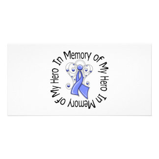In Memory of My Hero Stomach Cancer Angel Wings Photo Card Template