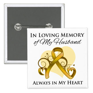 In Memory of My Husband - Appendix Cancer 15 Cm Square Badge