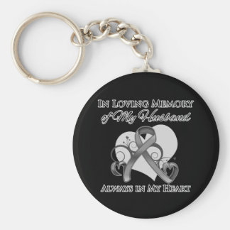 In Memory of My Husband - Brain Cancer Basic Round Button Key Ring