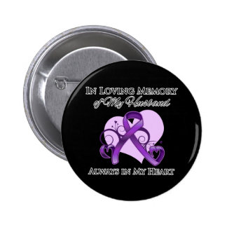 In Memory of My Husband - Pancreatic Cancer Button