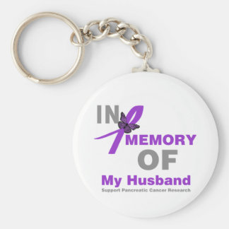 In Memory of My Husband Pancreatic Cancer Basic Round Button Key Ring