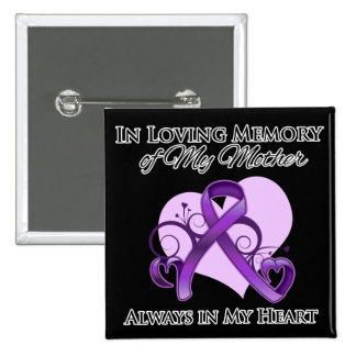 In Memory of My Mother - Pancreatic Cancer Pinback Button