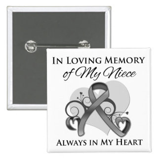 In Memory of My Niece - Brain Cancer Pinback Buttons