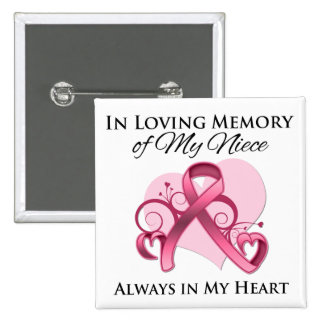 In Memory of My Niece - Breast Cancer Pins