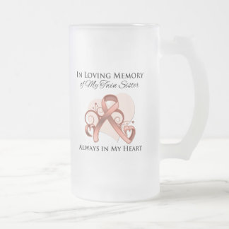 In Memory of My Twin Sister - Uterine Cancer Frosted Glass Mug