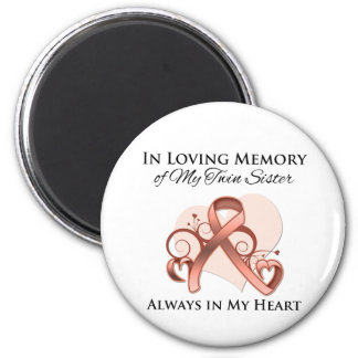 In Memory of My Twin Sister - Uterine Cancer Fridge Magnets