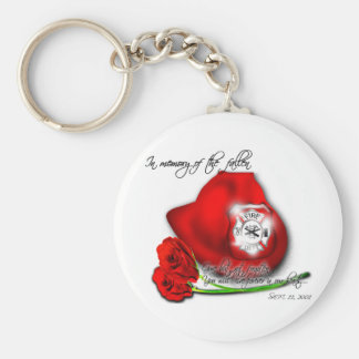 In Memory of the Fallen.....(Firemen of 9/11) Keyc Basic Round Button Key Ring