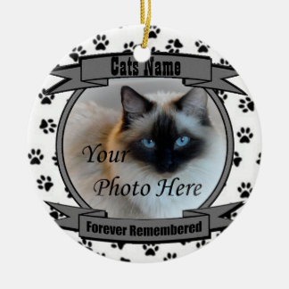 In Memory of Your Cat Forever Remembered - Pet Round Ceramic Decoration