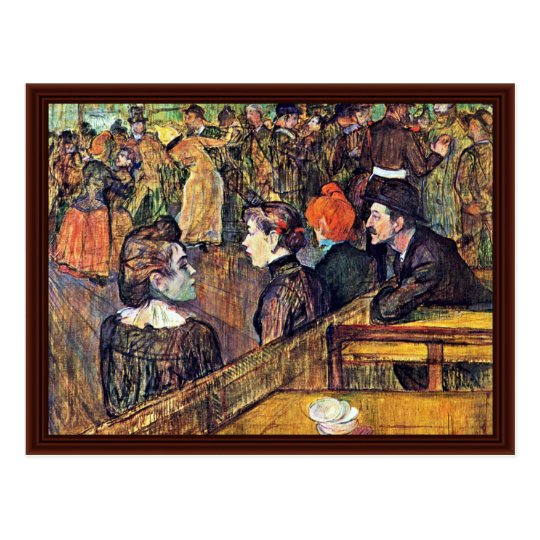 """In Moulin De La Galette """",  By Toulouse-Lautrec Postcard"""