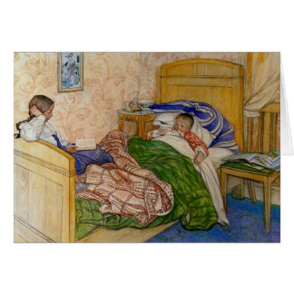 In Mum's Bed 1908 Greeting Card