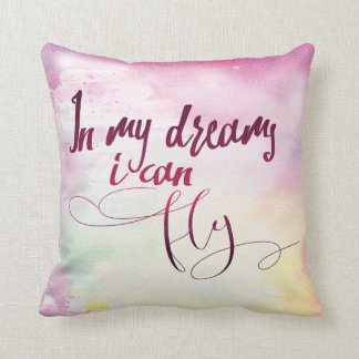 In My Dreams I Can Fly Multi-hued Watercolor Throw Pillow