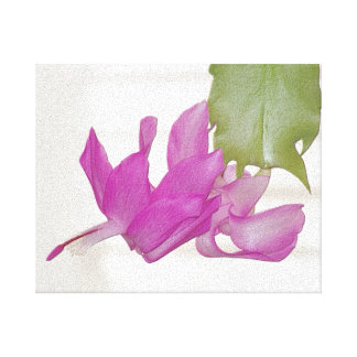 In My Garden, Embossed Christmas Cactus Flower 1 Stretched Canvas Print