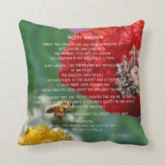 In My Garden Inspirational Bees and Red Poppies Cushion