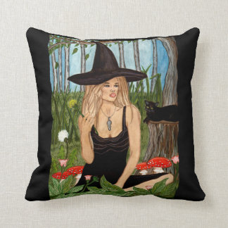 In My Magic Garden - Witch Art Pillow