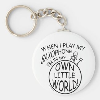 In My Own Little World Saxophone Basic Round Button Key Ring