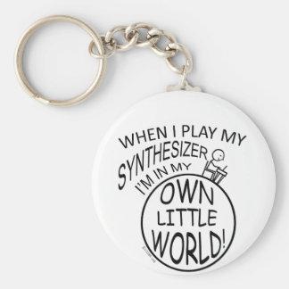 In My Own Little World Synthesizer Basic Round Button Key Ring