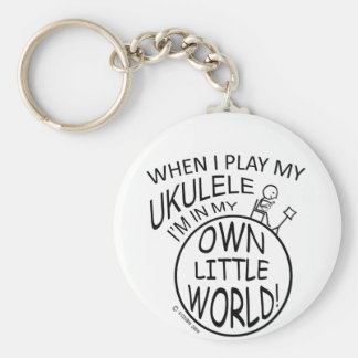 In My Own Little World Ukulele Basic Round Button Key Ring